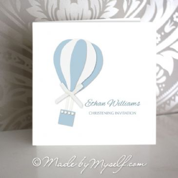 Hot Air Balloon Christening Invitation - Boy